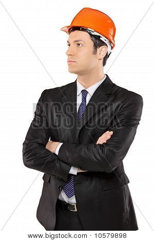 A Construction Engineer In A Suit Looking