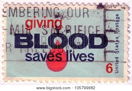 United States - Circa 1971: A Stamp Printed By United States Of America, Shows Drop Of Blood, Circa