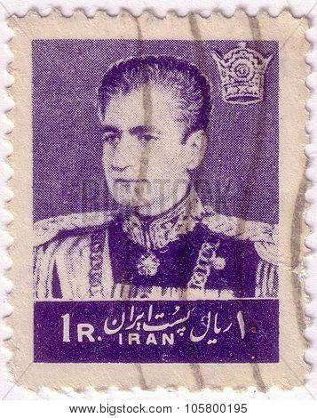 Iran - Circa 1972: A Stamp Printed In Iran Showing Mohammad Reza Pahlavi, Circa 1972