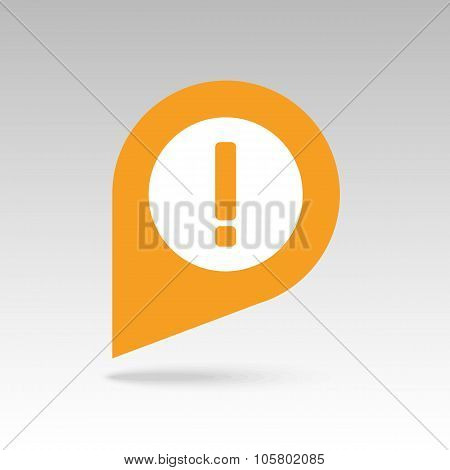 Warning attention, exclamation mark pin map icon