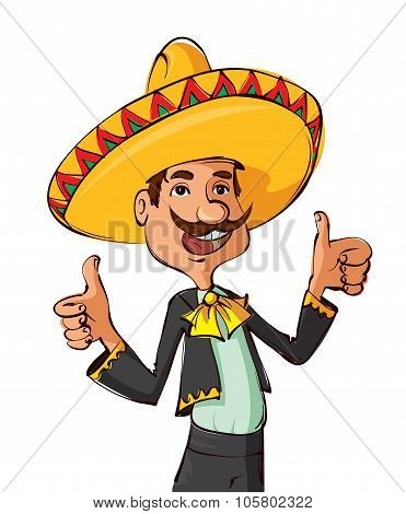 Funny Mexican Showing Thumbs Up