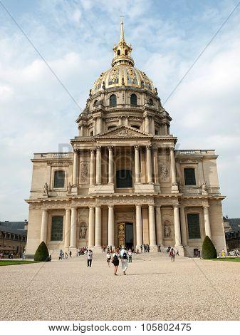 PARIS, FRANCE - SEPTEMBER 7 2014: View of Dome des Invalides burial site of Napoleon Bonaparte Paris France