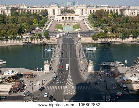 PARIS, FRANCE - SEPTEMBER 9, 2014: Eiffel Tower - The most famous symbol of ParisView of river Seine Trocadero and La Defense from the Eiffel tower. Paris France Europe