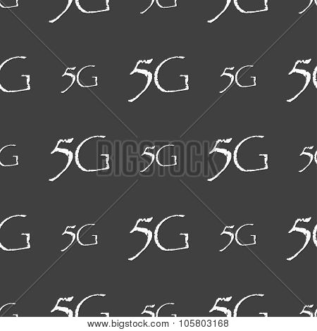 5G Sign Icon. Mobile Telecommunications Technology Symbol. Seamless Pattern On A Gray Background. Ve