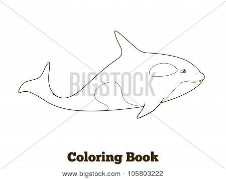 Whale orca cartoon coloring book vector