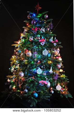 illuminated Christmas tree on dark background