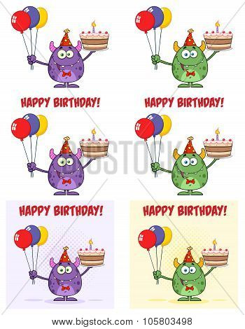 Monster Holding Up Colorful Balloons And Birthday Cake. Collection