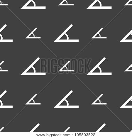 Angle 45 Degrees Icon Sign. Seamless Pattern On A Gray Background. Vector
