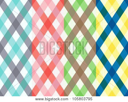 Rhombus Seamless Pattern With Motley Stripes