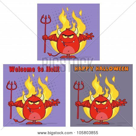 Evil Red Devil Cartoon Character Collection