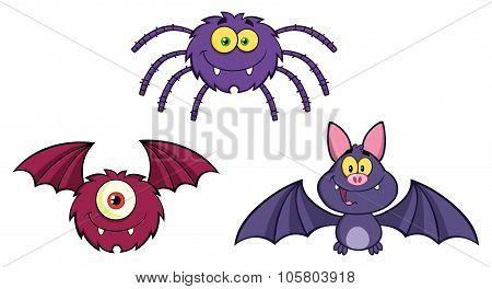 Three Halloween Cartoon Characters