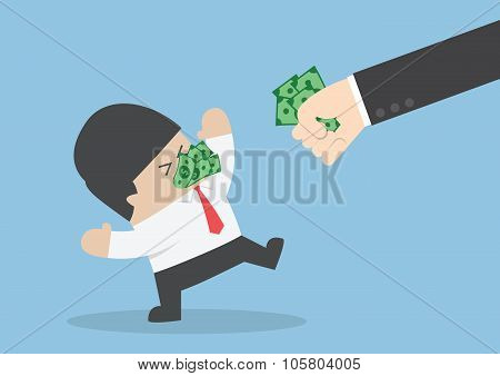 Businessman Being Forced To Eat Money