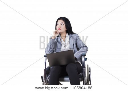 Disabled Woman Daydreaming On The Wheelchair