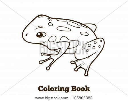 Frog cartoon coloring book vector illustration