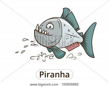 Piranha fish cartoon vector illustration