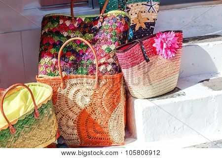 Colorful decorated straw bags shopping