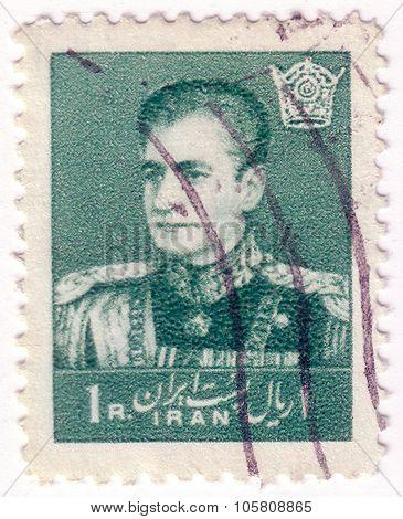Iran - Circa 1958,: Stamp Printed In Iran Shows Portrait Of Mohammad Reza Shah Pahlavi, Scott Catalo