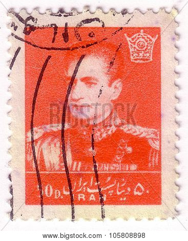 Iran - Circa 1957: A Stamp Printed In The Iran Shows Mohammad Reza Shah Pahlavi, Shah Of Persia, Cir