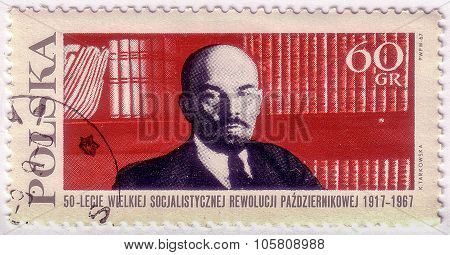 Poland - Circa 1967: A Stamp Printed In Poland Shows Russian Communist Leader Vladimir Lenin On Book
