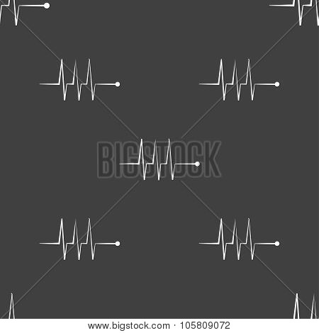 Cardiogram Monitoring Sign Icon. Heart Beats Symbol. Seamless Pattern On A Gray Background. Vector