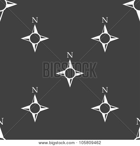 Compass Sign Icon. Windrose Navigation Symbol. Seamless Pattern On A Gray Background. Vector