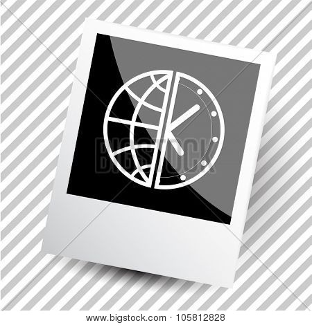 globe and clock. Photoframe. Vector icon.
