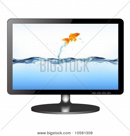Lsd Tv Monitor With Jumping Fish