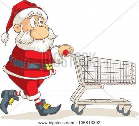 Santa Claus With Empty Shopping Cart Vector Cartoon