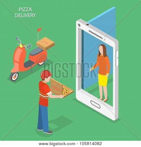 Pizza delivery flat isometric vector concept.
