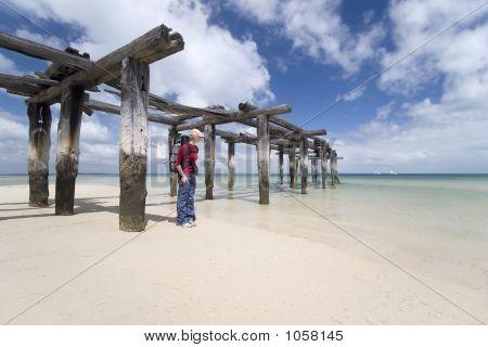 Woman Hiker By Pier 2