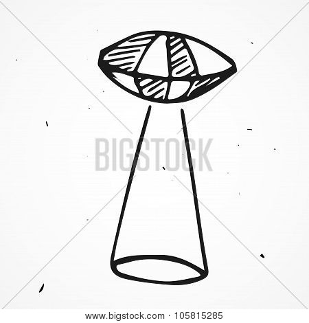 Hand Drawn Ufo Vector Icon
