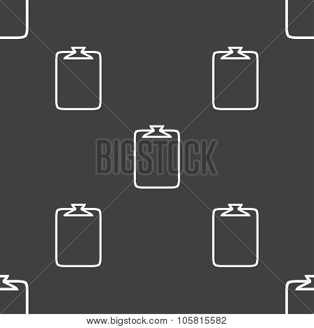 File Annex Icon. Paper Clip Symbol. Attach Sign. Seamless Pattern On A Gray Background. Vector