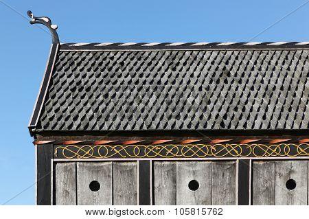 Roof and details of viking church in Moesgaard, Denmark