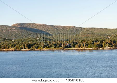 Lone House On Maine Coast