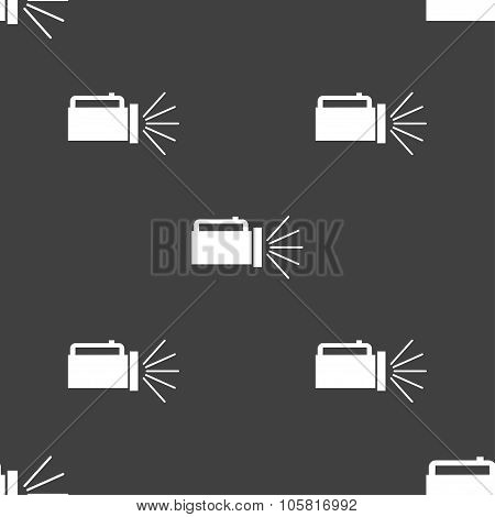 Flashlight Icon Sign. Seamless Pattern On A Gray Background. Vector
