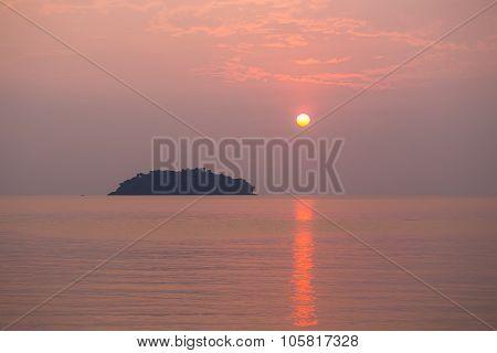 Sunset On Tropical Beach.