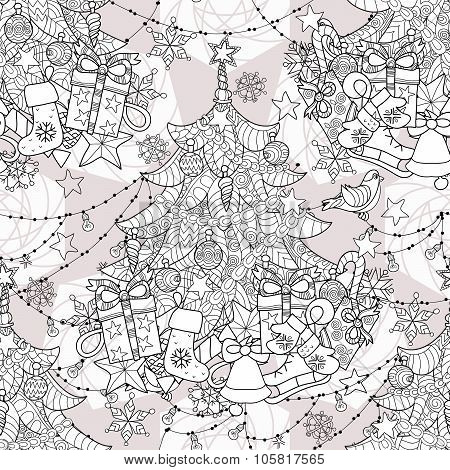 Merry Christmas zentangle fir tree doodle .