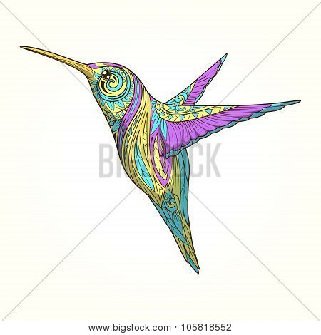 Hummingbird with abstract ornament vector