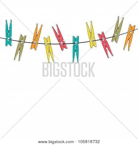 Colorful cartoon clothespins