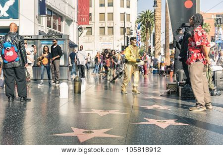 Artists And Everyday Multiracial People on the Walk Of Fame - Los Angeles Hollywood
