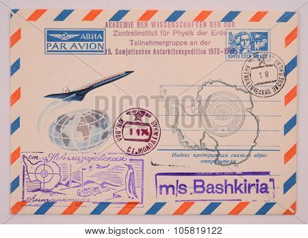 Russia Around 1973: Postage Envelope Edition Perm Shows Image Of Antarctic Postmarks Research Statio