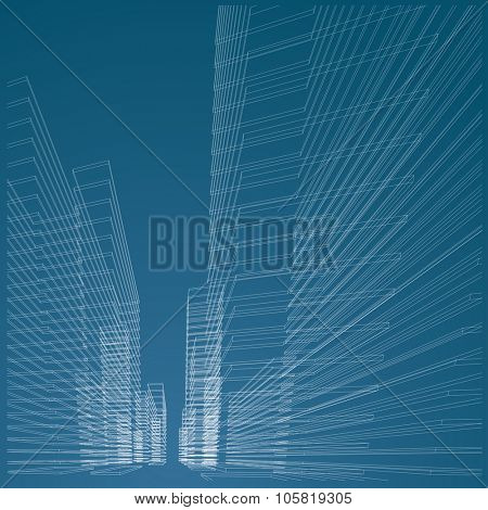 vector abstract architectural blueprint with wireframe buildings