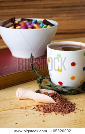 Cocoa Drink And Bowl With Sweets