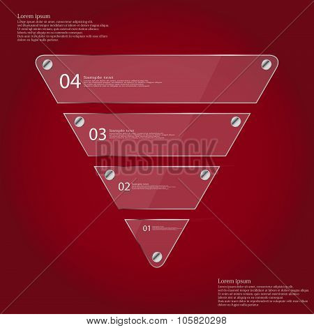 Infographic Template With Triangle From Four Glass Parts On Red