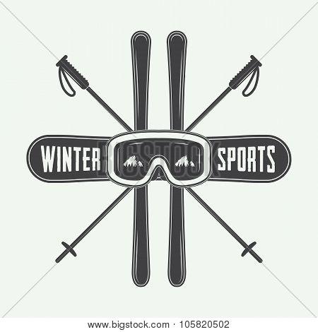 Vintage Winter Sports Logo, Badge, Emblem And Design Elements.