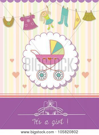 Baby Girl Shower Invitation Card. Child Background with a Pattern.