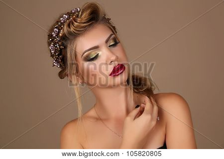 Beautiful Young Woman With Dark Hair With Bright Makeup