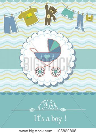 Baby Boy Shower Invitation Card. Child Background with a Pattern.