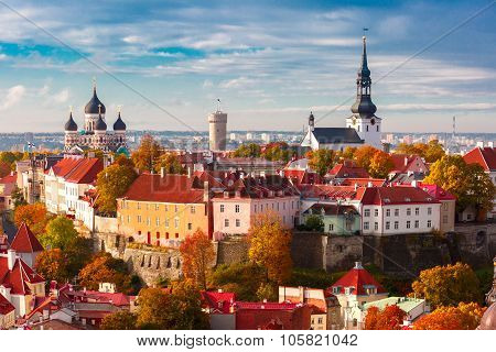 Aerial view old town, Tallinn, Estonia