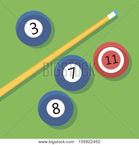 Vector illustration of billiards